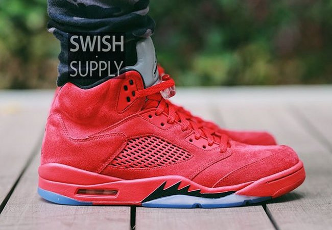 Red Suede Air Jordan 5 On Feet