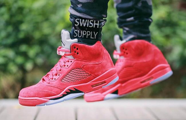 Nike Air Jordan 5 Camoscio Rosso 1usGQ