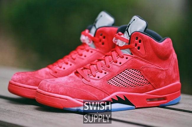 98ea58f19c3b15 ... Red Suede Air Jordan 5 On Feet ...