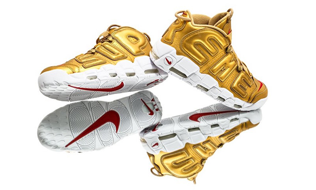 Supreme Nike Air More Uptempo Metallic Gold