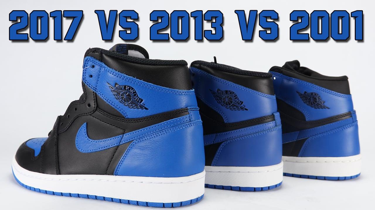 low priced 5f41f 805b1 Air Jordan 1 Royal 2001 vs 2013 vs 2017 Comparison   SneakerFiles