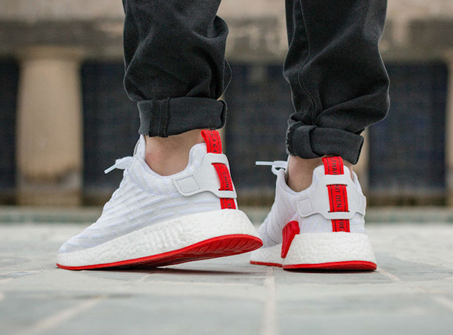 998619b4cdde9 adidas NMD R2 Primeknit White Core Red On Feet