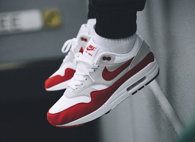 new product 48ff3 7f52a On Feet Photos of the Nike Air Max 1 University Red OG  Anniversary  via