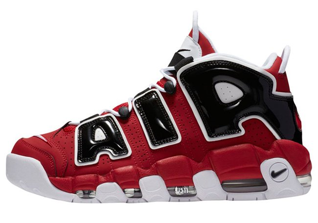 Nike Air More Uptempo Bulls Varsity Red White Black