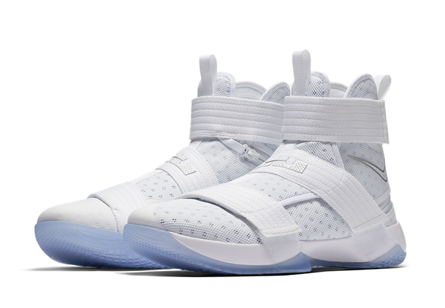34c3beeba9d7 Nike LeBron Soldier 10 FlyEase White Silver