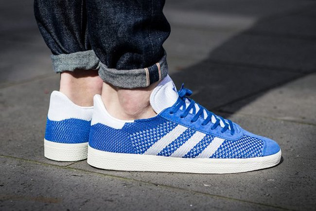 adidas Gazelle Primeknit Red Blue Grey  72d3105603a1