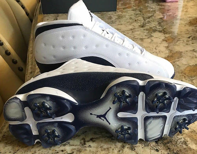 Air Jordan 13 Low Golf Shoes White Blue