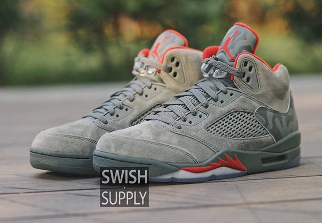 Air Jordan 5 Camo Suede On Feet