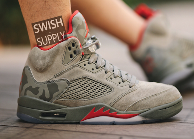 Air Jordan 5 Camo Suede On Feet