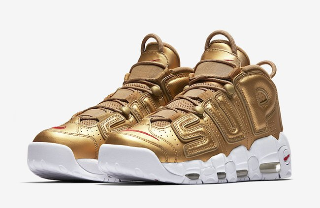 Supreme Nike Air More Uptempo Gold White