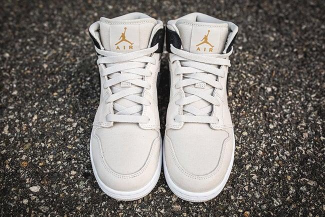 Air Jordan 1 Mid Light Bone Metallic Gold