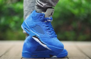 Air Jordan 5 Blue Suede On Feet