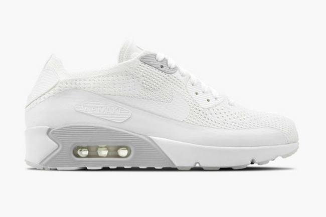 d04934a48c Nike Air Max 90 Ultra 2.0 Flyknit White Pure Platinum 875943-101 ...