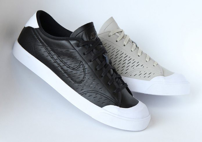 Nike All Court 2 Low Leather Cut Black Pale Grey