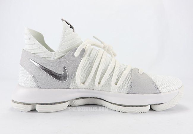 7d30d349a1e07 Nike KD 10 White Chrome Pure Platinum 897815-100