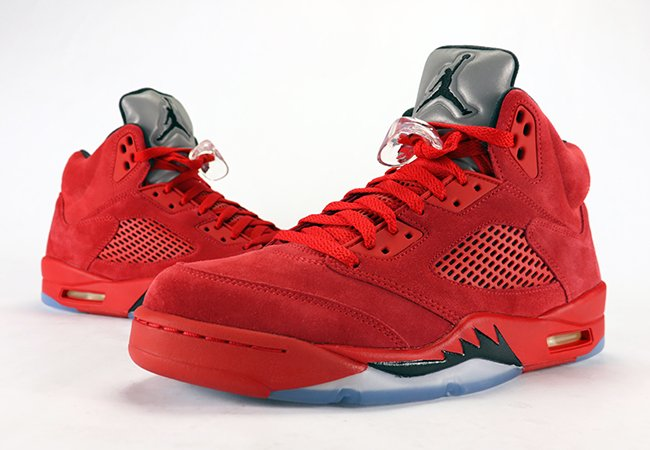 Air Jordan 5 Red Suede Flight Suit Review On Feet