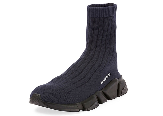 Balenciaga Ribbed Speed Trainer Low Blue Black