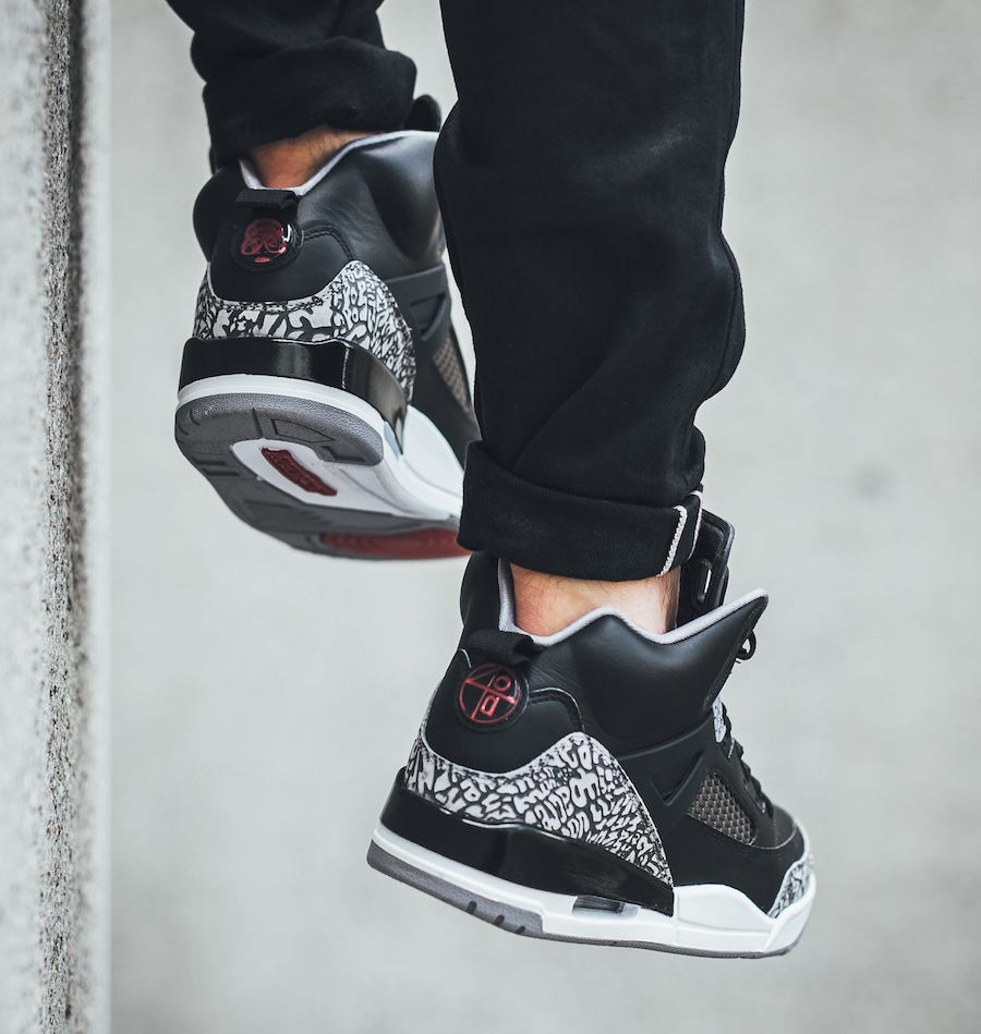 Jordan Spizike Black Cement On Feet