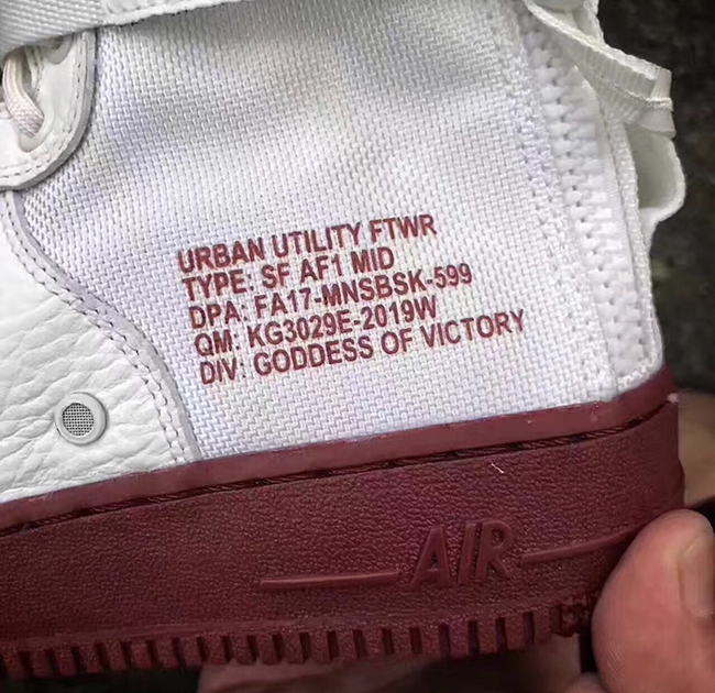 Nike SF-AF1 Mid Ivory Dark Red