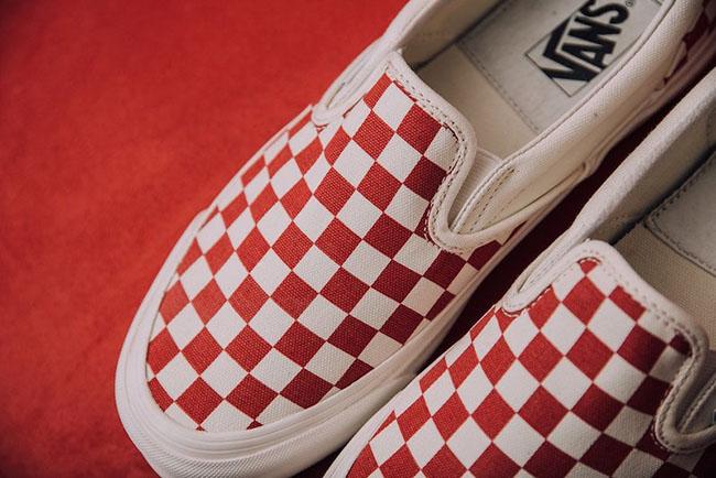 Vans Slip-On Checkerboard White Red