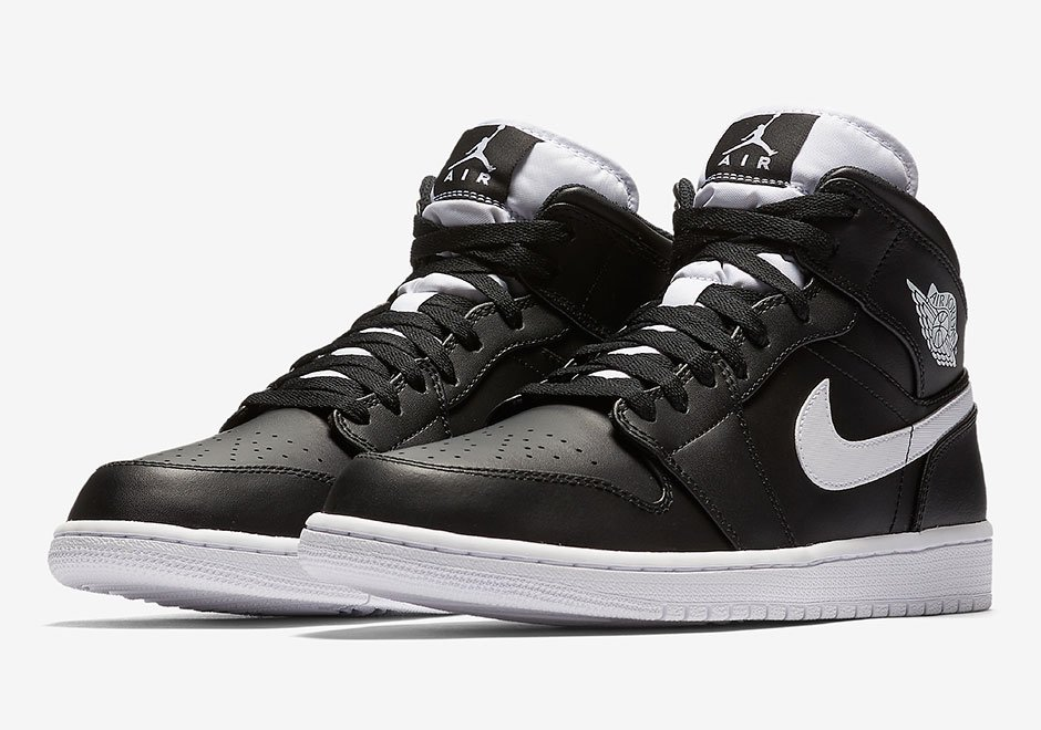 air jordan 1 mid black black white