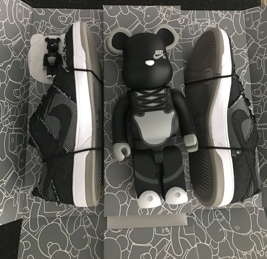 Medicom Nike SB Dunk Elite Black Denim Bearbrick Pack