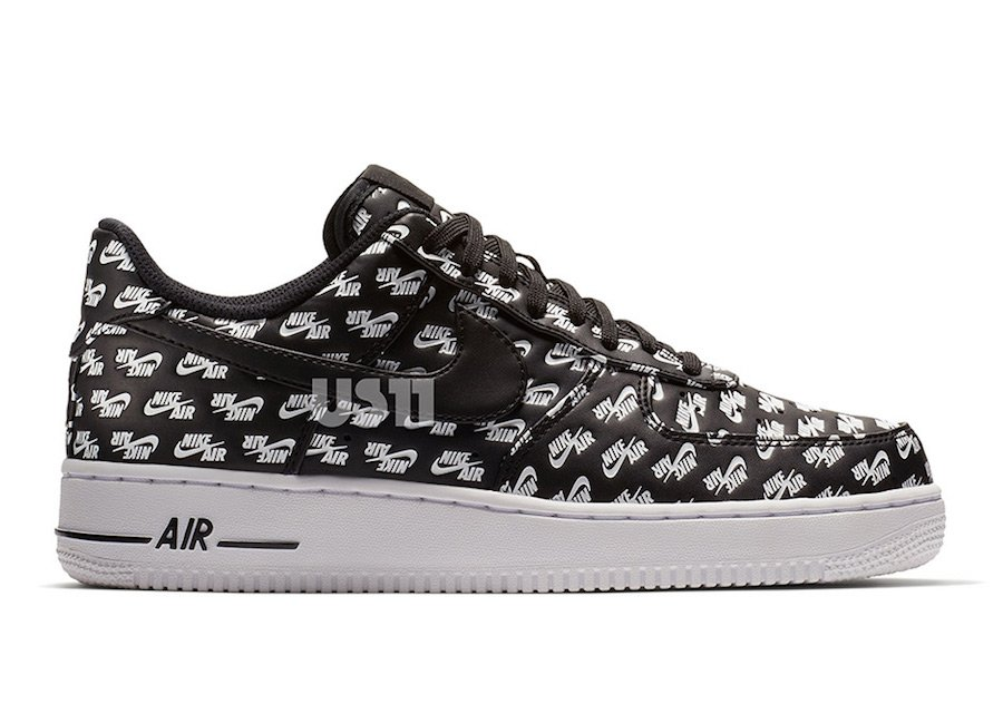 Nike Air Force 1 Low Print Logo Black White