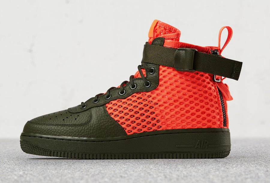Details about NIKE SF Air Force 1 MID QS (TAN CARGO KHAKI TOTAL CRIMSON CARGO KHAKI)
