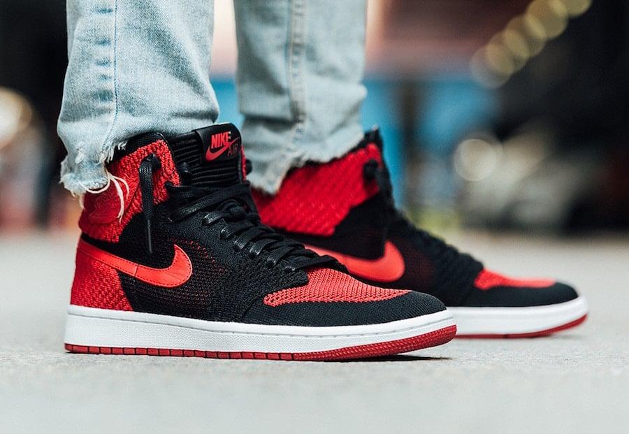 Air Jordan 1 Flyknit Banned Bred On Feet