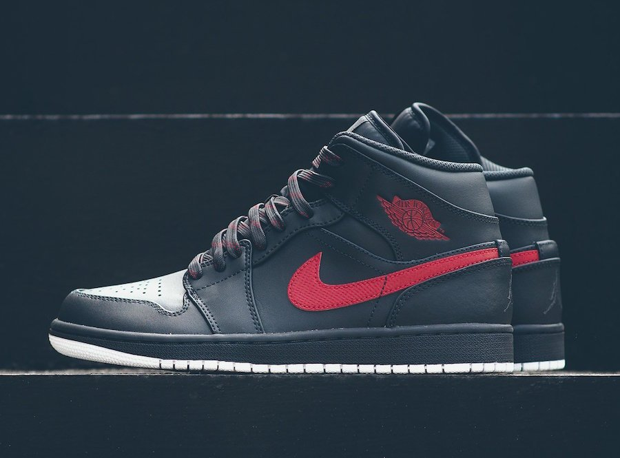 Air Jordan 1 Mid Anthracite Gym Red 554724-045