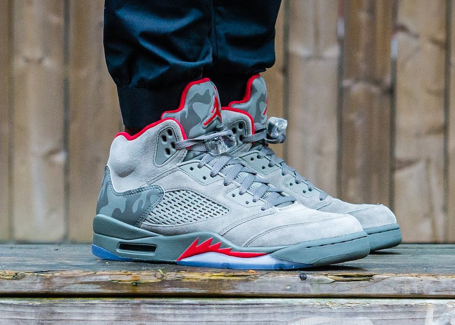 air jordan 5 camo on feet