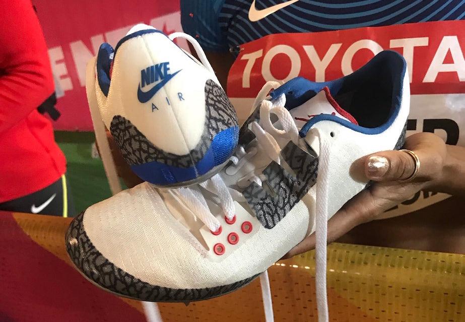 Kori Carter Air Jordan 3 True Blue Spikes