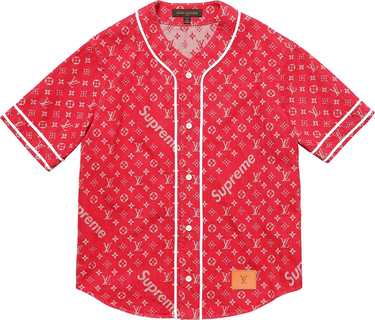 Louis Vuitton Supreme Red Denim Baseball Jersey