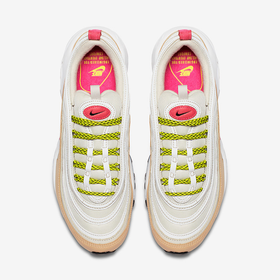 Nike Air Max 97 White Tan Pink Neon