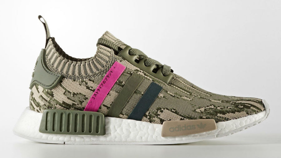 adidas Womens NMD R1 Primeknit Camo Green Night Shock Pink BY9864