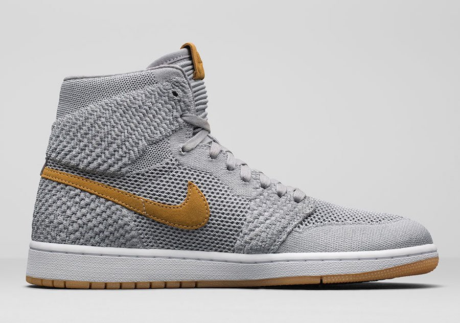 Air Jordan 1 Flyknit Wolf Grey Golden Harvest 919704-025