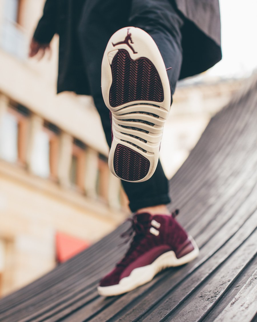 Air Jordan 12 Bordeaux On Feet