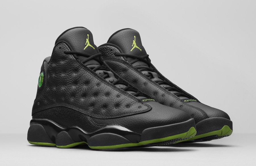 air jordan 13 black and altitude green