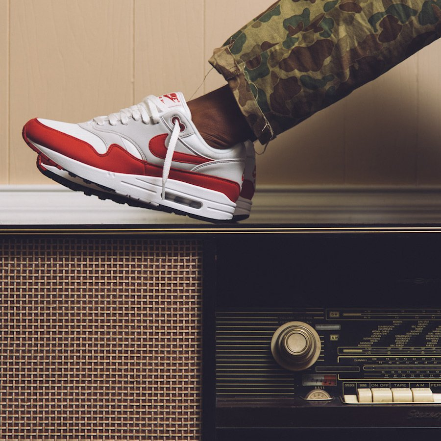 Nike Air Max 1 OG Anniversary White Red On Feet