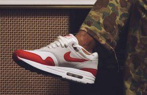 Nike Air Max 1 OG Anniversary White Red On Feet