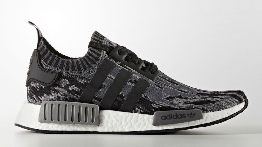 wholesale dealer 882d2 52204 adidas NMD R1 Primeknit Glitch Camo Black Grey Release Date