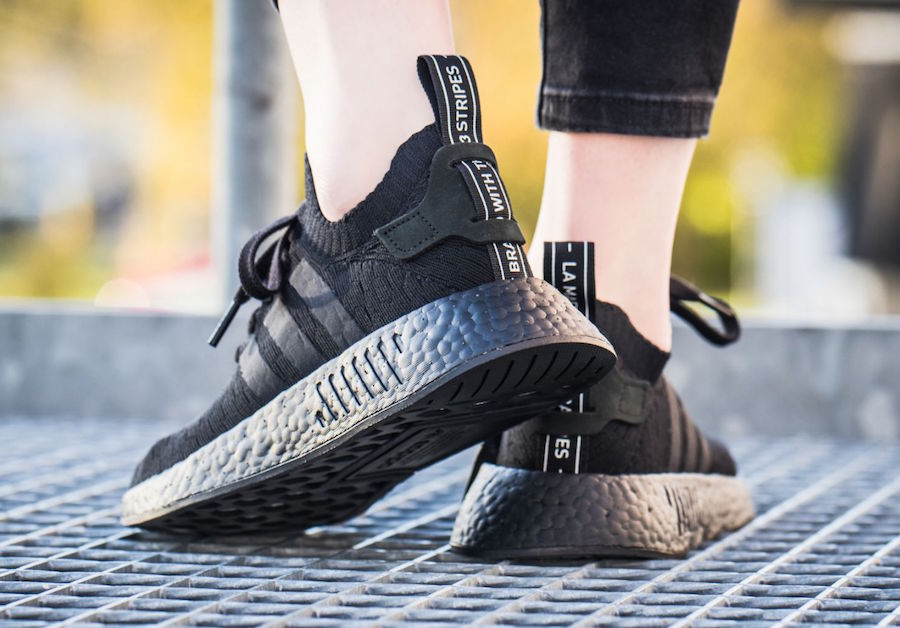 adidas NMD R2 Primeknit Triple Black On Feet