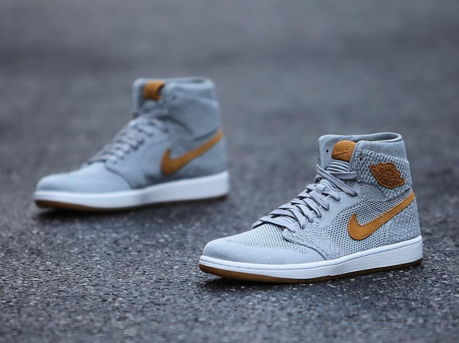 Air Jordan 1 Flyknit Wolf Grey Golden Harvest Gum