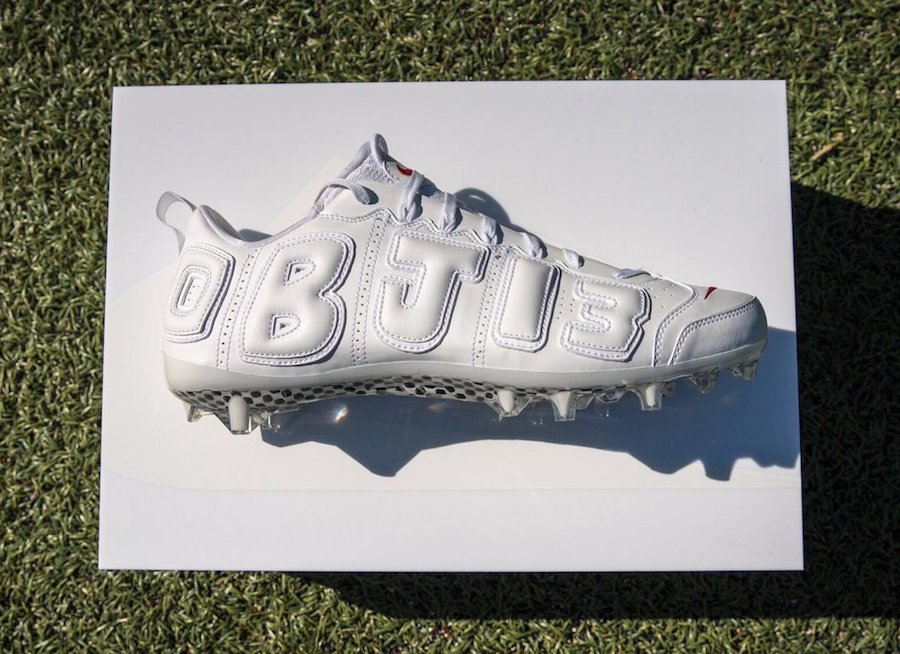 Odell Beckham White Nike Air More Uptempo Cleats