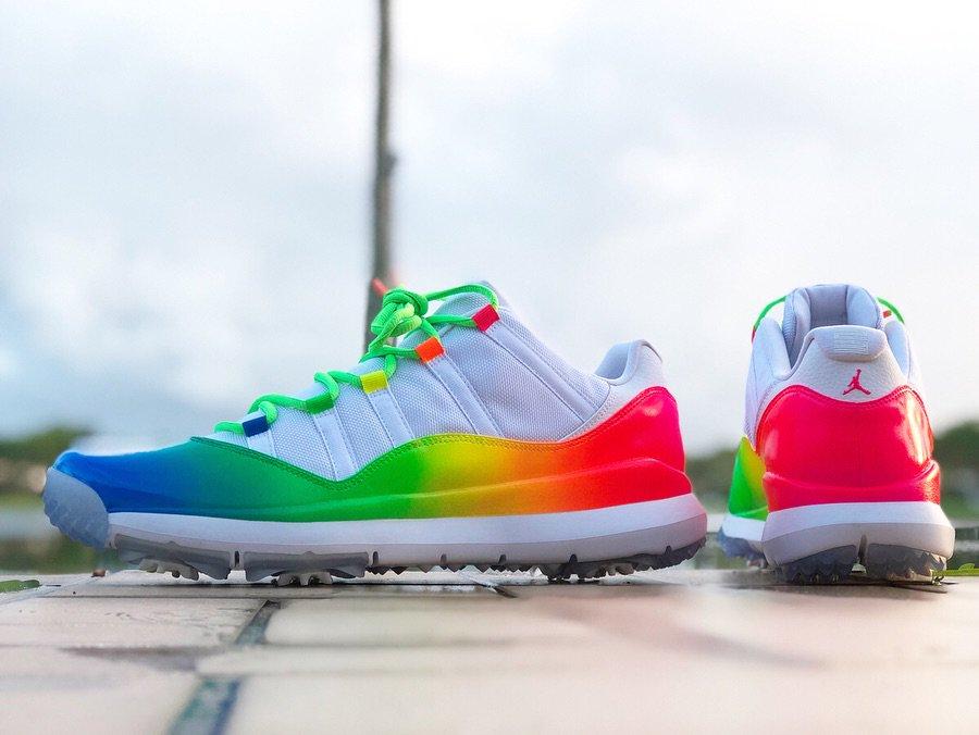 Ray Allen Rainbow Air Jordan 11 Low Golf Shoes