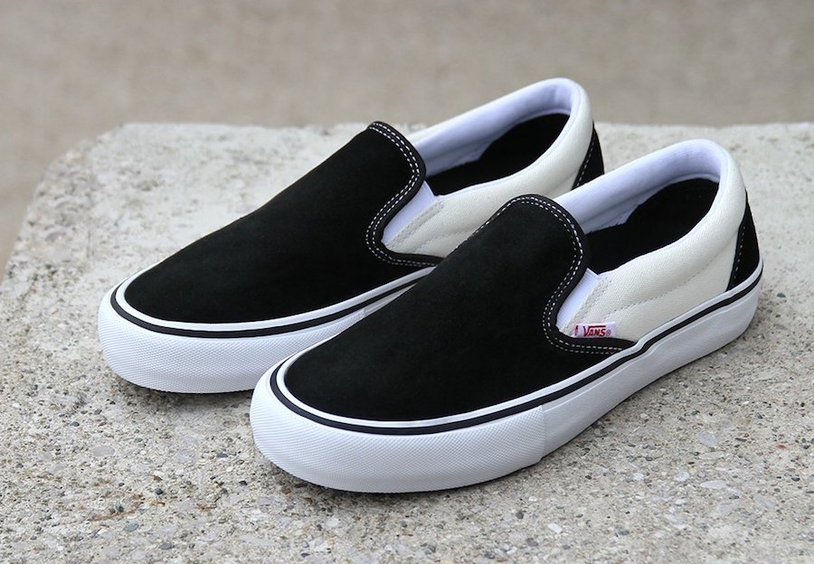 vans slip on shoes black and white