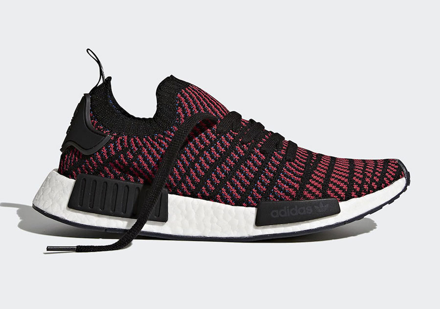 super popular 07466 f24d0 adidas NMD R1 Primeknit STLT Black Red CQ2385 | SneakerFiles