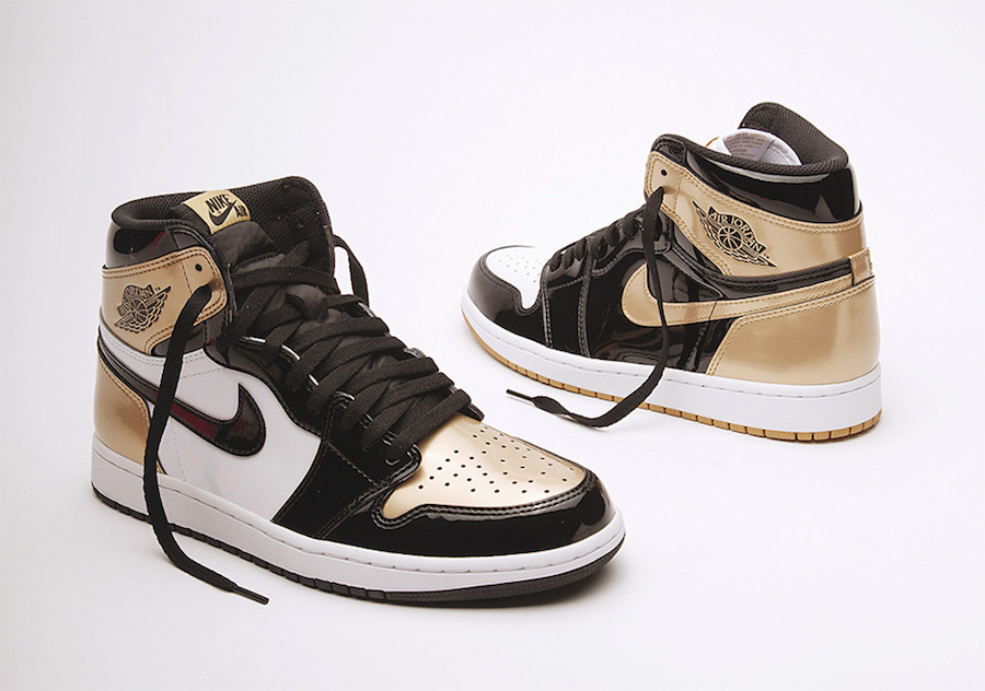Air Jordan 1 Top 3 Black Gold Patent Leather