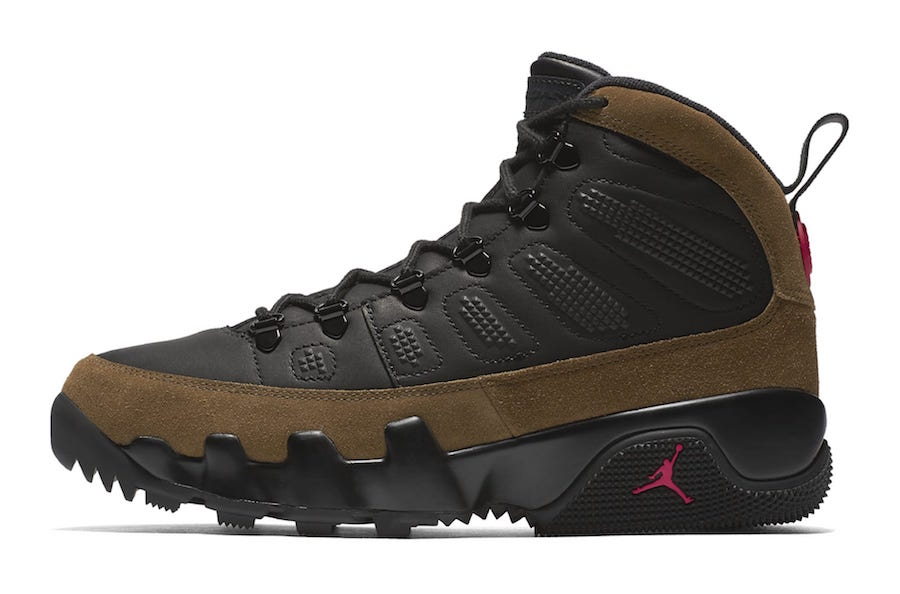 Air Jordan 9 Boot NRG Black True Red Light Olive AO4690-012