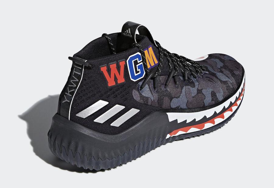 premium selection 6f3d3 89144 BAPE adidas Dame 4 Black Camo AP9975 Release Info